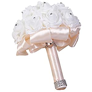 Move on Wedding Bridal Bouquet, Wedding Bride Bouquet, Wedding Holding Bouquet with Artificial Roses, Perfect for Wedding, Church, Party and Home Decor 32