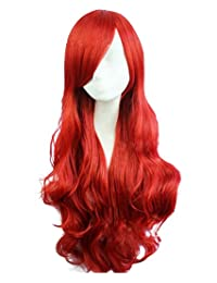 "RoyalStyle 26""65cm Long Wavy Curly Cosplay Wig Hair for Woman (Red)"