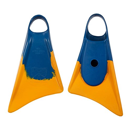 Churchill Makapuu Fins (Blue/Yellow) - Size: Large - Perfect for catching Waves, Whether Bodyboarding, Swimming, Travel fins, bodysurfing, Casual Swimmers or Tight Space Snorkeling ect.