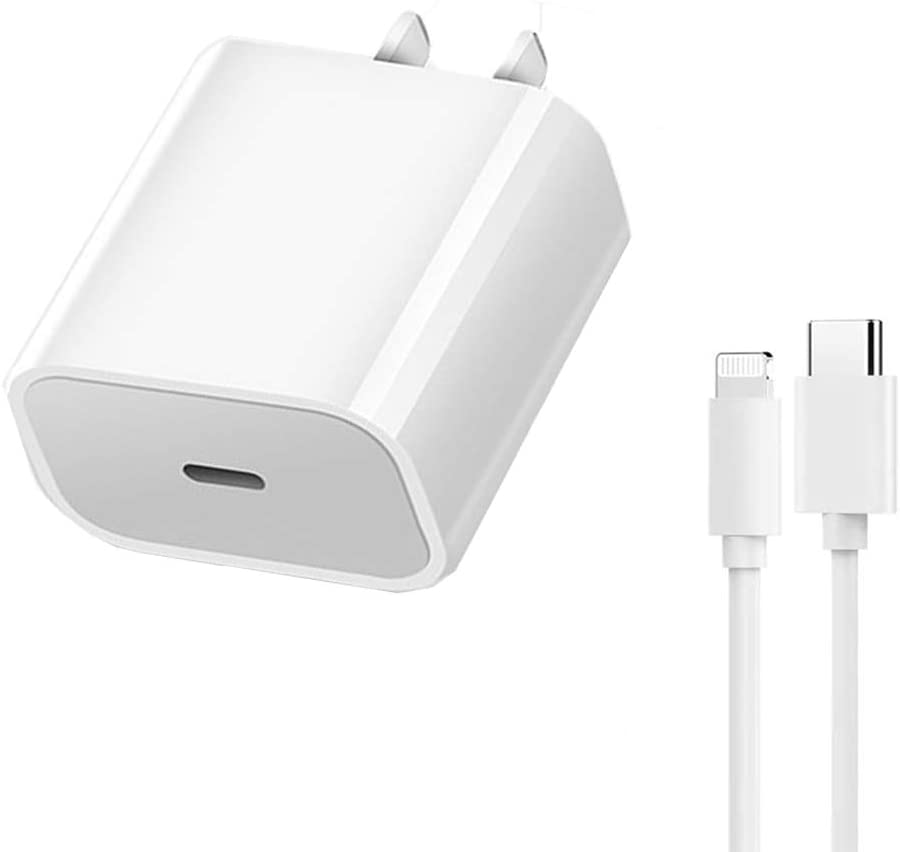 Phone Fast Charger MFi Certified 18W USB C iPhone Fast Charger 18W| Type-C to Lightning Cable with USB C Ultra Fast Charging Wall Adapter for iPhone 12 Pro Max/12 Mini/11 Pro Max/SE/X/XS/XR/8 Plus