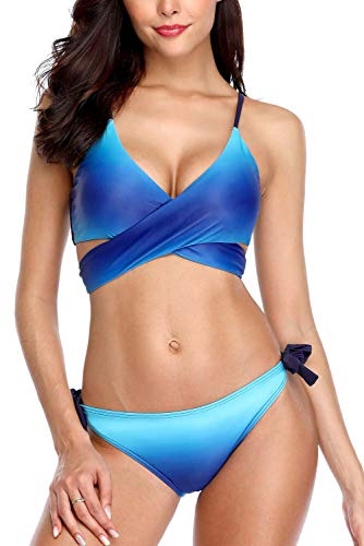 CharmLeaks Womens Wrap Bikini Swimsuits Bandage Bikini Top 2 Piece Bathing Suits S