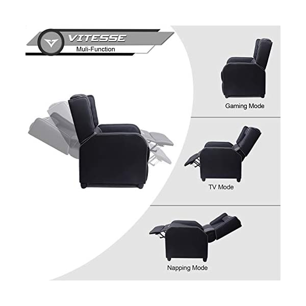 Vitesse Gaming Recliner Chair Racing Style Single Ergonomic Lounge Sofa Modern Pu Leather Reclining Home Theater Seat Beehive Outdoors
