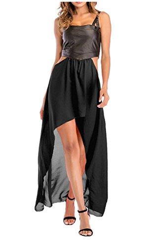 Out Dress Black Dress Jaycargogo Sexy Low Cut Chiffon Women Hem Sleeveless High 7xqg6XS