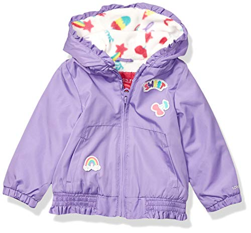 London Fog Baby Girls Floral Printed Fleece Lined Jacket, Electric Violet Neon 24 Months
