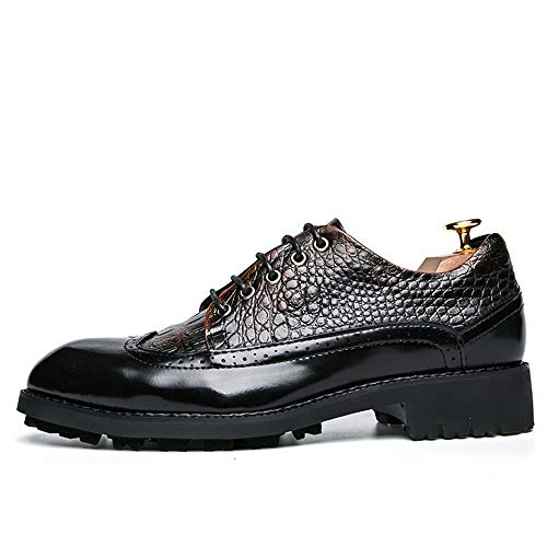 Dadijier Confortable Robe Hommes Jaune Mariée Chaussures L'abrasion Étanche D'affaires Synthétique Lace Casual Cuir Up Wingtip Gaufrage Mocassins Résistant Serpent En De À Deux Tons n8rw58qX