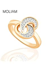 AYT Costume Jewelry Female Ring Brand 18K Gold Platinum Plated Crystal Zirconia Moon Knot Finger Ring for Women
