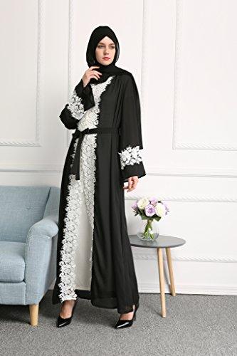 YI HENG MEI Women's Elegant Long Sleeve Muslim Maxi with White Lace Hem for Islamic Abaya,Black,L by YI HENG MEI (Image #5)
