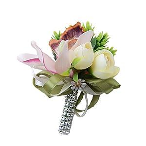 Jili Online Calla Wedding Flower Corsage Wrist Flowers Boutonniere Silk Roses Groom Best Man Prom Pin Wedding Party Favors Decor 39