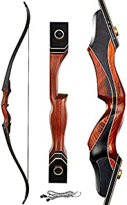 60 Inch Archery Takedown Recurve Bow Right Adults Practice Longbow 30-50Lbs Hunting Bow with Stringer for Hunt