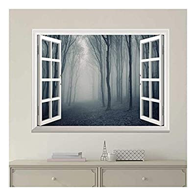 Modern White Window Looking Out Into a Dark Foggy Forest - Wall Mural, Removable Sticker, Home Decor - 36x48 inches