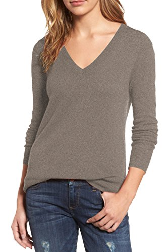 Viottis Women's V-neck Cashmere Wool Ribbed Pullover Sweater Khaki (Ribbed Pullover Sweater)