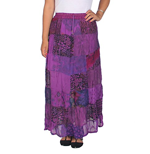 KayJayStyles Women's Hippie Bohemian Gypsy Vintage Ethnic Patchwork Long Skirt (Purple)