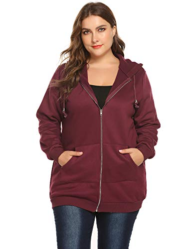 omen Casual Zip up Fleece Hoodies Tunic Sweatshirt Long Hoodie Jacket Wine Red ()