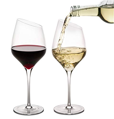 Crystal Wine Glasses set of 4 Slant Rim Great for Red and White Wine by...