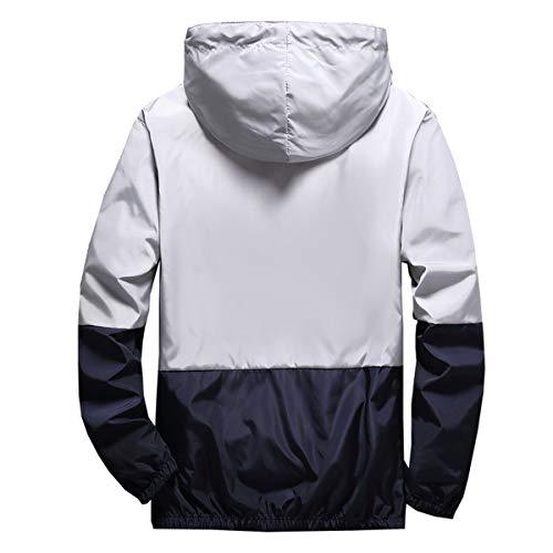 1f761a549 AITFINEISM Men's Lightweight Hooded Zip up Sports Jacket Windproof ...