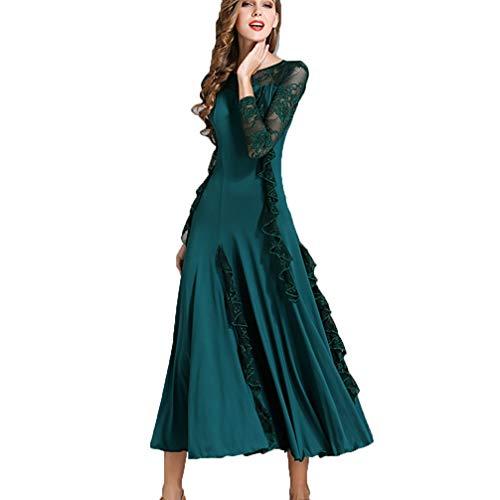 Lunga Prestazioni Dancewear Gonna Donna Green concorso Modern Wqwlf M Manica l In Valzer Per Balli Sala Practice Pizzo Da Cuciture wSB6wX7qU0