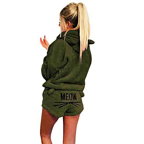 Okvpajdo Women Sherpa Fleece Pajama Suit Hooded Cute Cat Long Sleeve Zipper Short Jumpsuit Sleepwear Romper 2 Pieces (XL, Army Green) - Green Sherpa