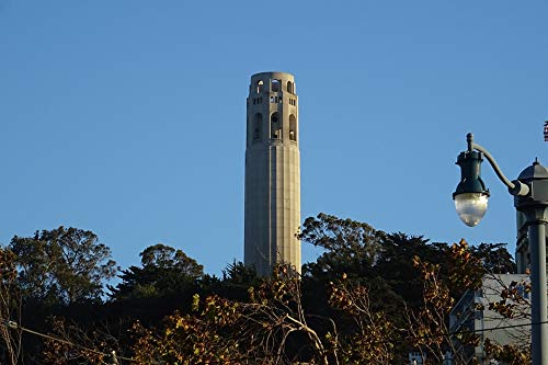 Peel-n-Stick Poster of Telegraph Hill Tower Coit Tower Historic Landmark Vivid Imagery Poster 24 x 16 Adhesive Sticker Poster Print