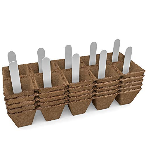 (Seed Starter Peat Pots Kit | Germination Seedling Trays are Biodegradable and Organic | 10 Plastic Plant Markers Included | 5 Pack - 50 Cells)
