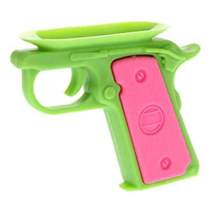 Piaopiao Green Body and Pink Pikestaff Gun Shaped Universal Stand for iPhone 5/5S/5C and Others