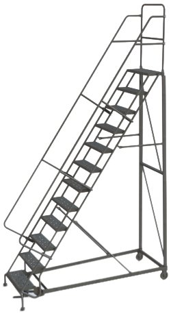 Tri-Arc KDHD112242 12-Step Heavy-Duty Steel Rolling Industrial & Warehouse Ladder with Grip Strut Tread