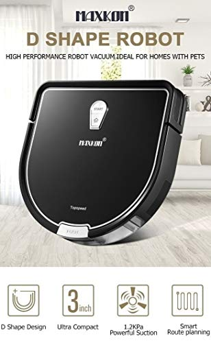 Maxkon Pro 2-in-1 Robotic Vacuum Cleaner Dry & Wet Mopping High Suction, Self-Charging Robotic Vacuum Cleaner, Filter for Pet Fur, Cleans Hard Floors to Medium-Pile Carpets