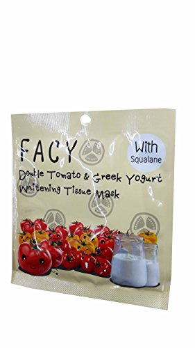 Price comparison product image 3 Mask Sheets of Facy Double Tomato & Greek Yogurt Whitening Tissue Mask. (21 g/ sheet.)
