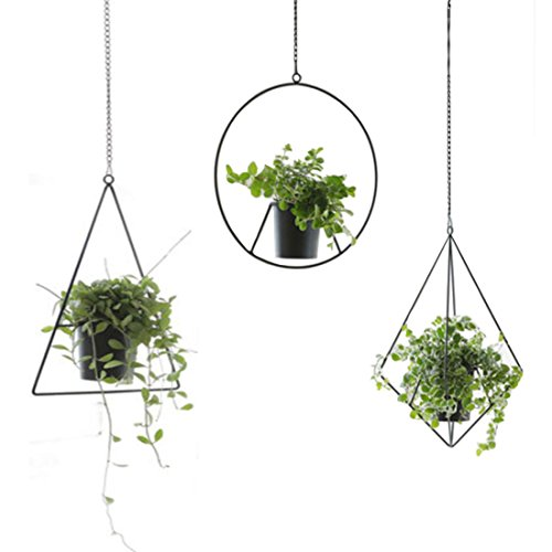 HARRA Home Hanging Planter For Indoor Plants, Plant Hanger Outdoor Basket, Geometric Wall Decor Container Pots - Great For Succulent Air Plant, Flower, Faux Plants Herbs, Pack of 1 (Diamond, Black)