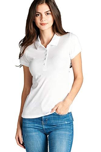 Hollywood Star Fashion Women's Classic Short Sleeve Jersey Polo Shirt (Medium, White)