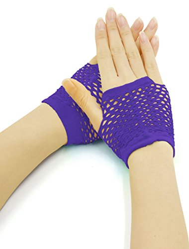 uxcell Women Wrist Length Stretchy Fingerless Fishnet Gloves 2 Pairs Purple (Purple Fishnets)