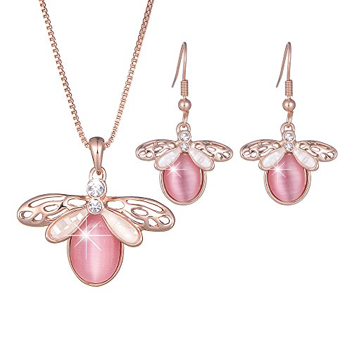 y Sets Pink Opal Pendant Necklace Cat Eye Dangle Earrings For Women (Rose) ()