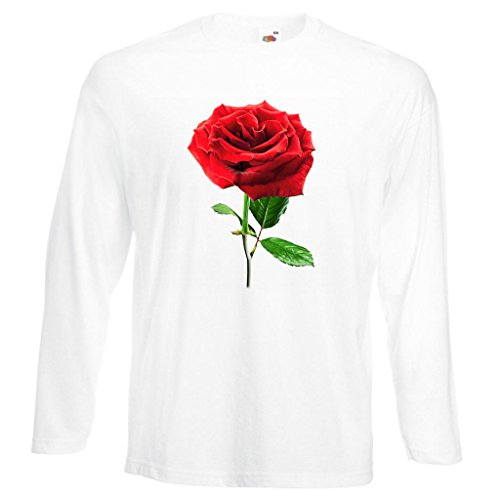 Single Rose Image White T-Shirt with Long Sleeves