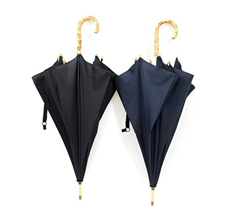 Baron W.H Antique Umbrella handmade rattan bamboo long handle umbrella big business umbrella,Navy Blue (Antique Rattan)