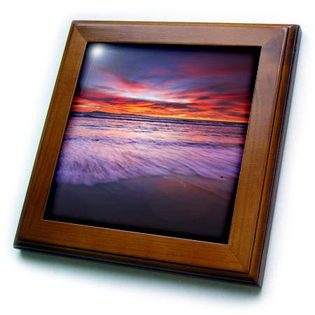 3dRose Danita Delimont - Sunsets - Sunset from San Buenaventura State Beach, Ventura, California, USA - 8x8 Framed Tile (ft_314687_1) ()