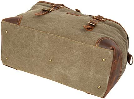 ORIENTAL GLORY Overnight Canvas And Leather Duffel Bags for Men,Men's Travel Bags Weekender Carry On Handbag (army green)