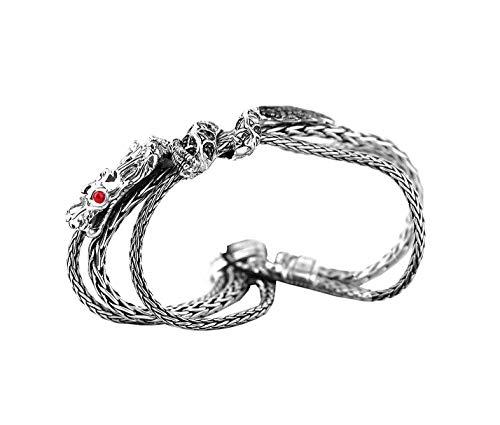 HJ John Hardy Sterling Silver Black Sapphire NAGA Dragon Triple Chain Bracelet 92B Size M
