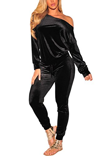 VamJump Women Black Velour Off Shoulder Sweatshirts Jogger 2 Piece Set Tracksuits ()