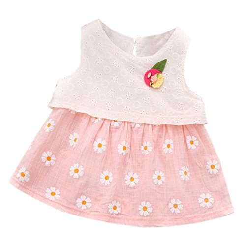 GBSELL Summer Toddler Baby Kids Girl Sweet Daisy Tutu Dress Clothes (Pink, 12-18 Month) -