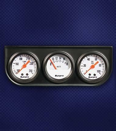 Sunpro CP8091 Mini Triple Gauge Kit - White Dial ()