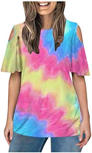 Memela Women`s Loose Fit T Shirts Short Sleeve Cold Shoulder Tops Casual Tie-dye Print Gradient Color O-Neck Tees Blouse