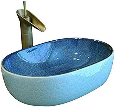 バスルームオーバルシンプルな洗面シンクセラミックホテルアンチスプラッシュ洗面蛇口1セット