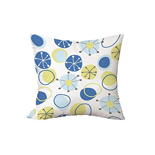 iPrint Throw Pillow Cushion,Yellow and Blue,Random Doodle Circles Abstract Floral Children Pattern,Light Yellow Grey Baby Blue,15.7x15.7Inches,for Sofa Bedroom Car Decorate