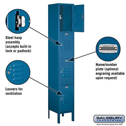 Salsbury Industries 64162BL-U 12'' Four Tier Standard, 1 Wide x 6 Feet High x 12 Inches Deep, Unassembled Metal Locker, Blue by Salsbury Industries (Image #1)