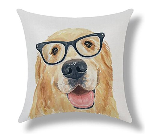 (ME COO Classical Vintage Animal Style Star Dog and Cat Cushion Cover Pillow Case Cover Throw Linen Home Decoration 18Inches x 18Inches 1pcs (ME-BZX-267))