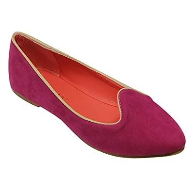 Anna Rofl-6 Women's ballerina flat slip on boat pointed toe velvet with gold trim loafers