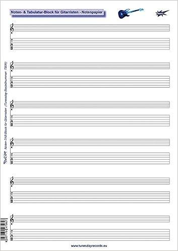 Noten- & Tabulatur-Block für Gitarristen - Notenpapier Gitarre-TABs ...