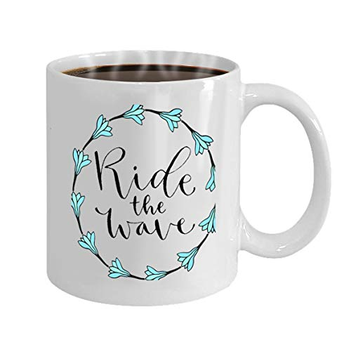 Funny Gifts for Halloween Party Gift Coffee Mug Tea ride wave handwritten greeting card printable quote