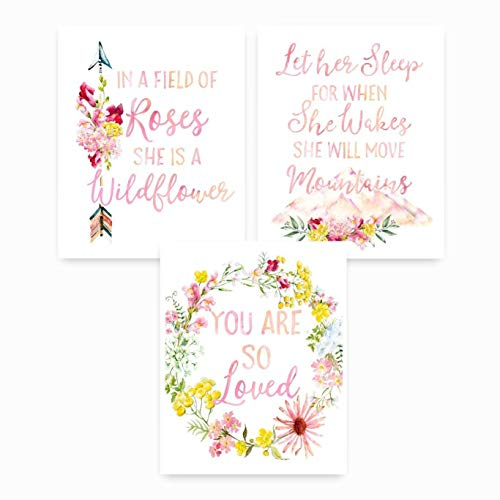 Rose Nursery - Boho Nursery Wall Prints, UNFRAMED, Nursery Wall Decor, In a Field of Roses, Let her Sleep for, You are so Loved