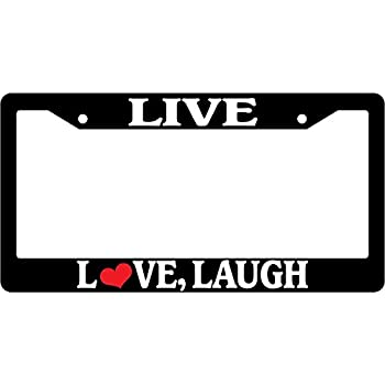 Amazon.com: Black License Plate Frame Live Love Laugh Auto Accessory ...