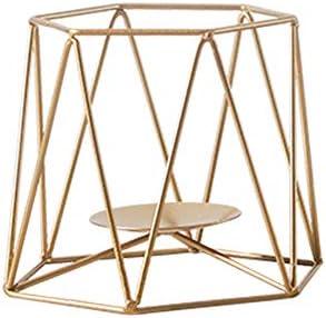 PeiQiH メタルキャンドルホルダー, 北欧 3d 幾何学 鉄 ティーライトキャンドルスティック の 結婚 F パーティ ホーム装飾 テーブル トップ センター ピース-ゴールデン-s 13x15x12.5cm